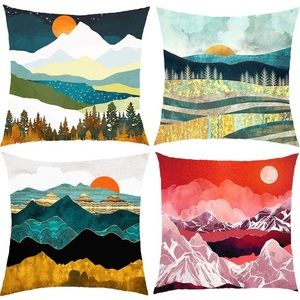 Watercolor Landscape Pattern Throw Pillow Covers